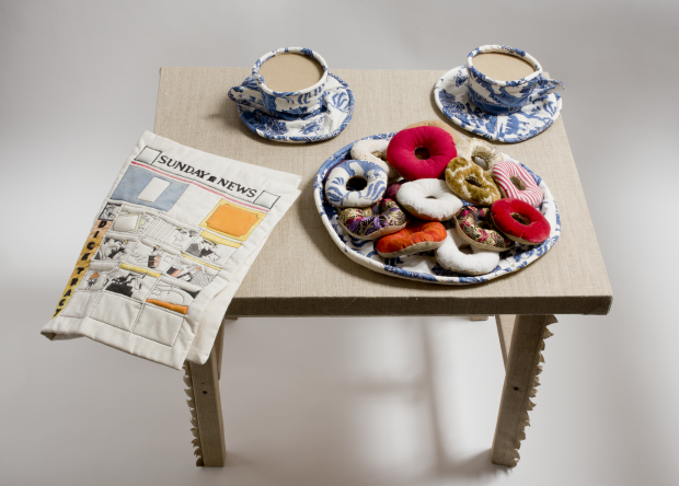 Jann Haworth, Donuts, Coffee Cups and Comic, 1962, Fabric, thread and kapok, Wolverhampton Arts Centre © Courtesy of the artist