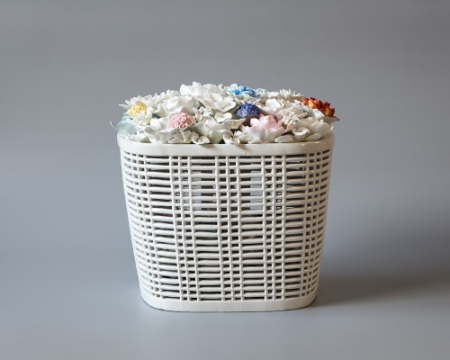 Ai Weiwei, Bicycle Basket with Flowers in Porcelain, 2014