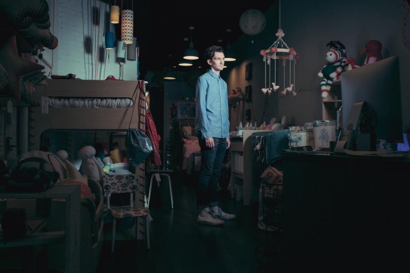 Drew Scott Alexander, actor & salespeople in a children's furniture store