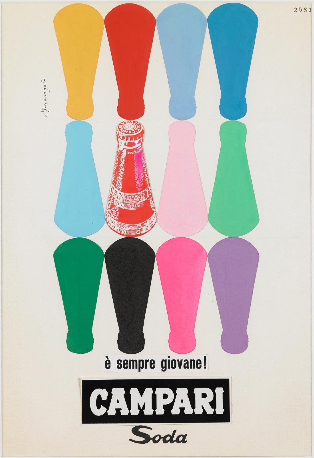 Franz Marangolo, Campari Soda è sempre giovane!, 1960s. Campari Soda is always Young! Mixed media