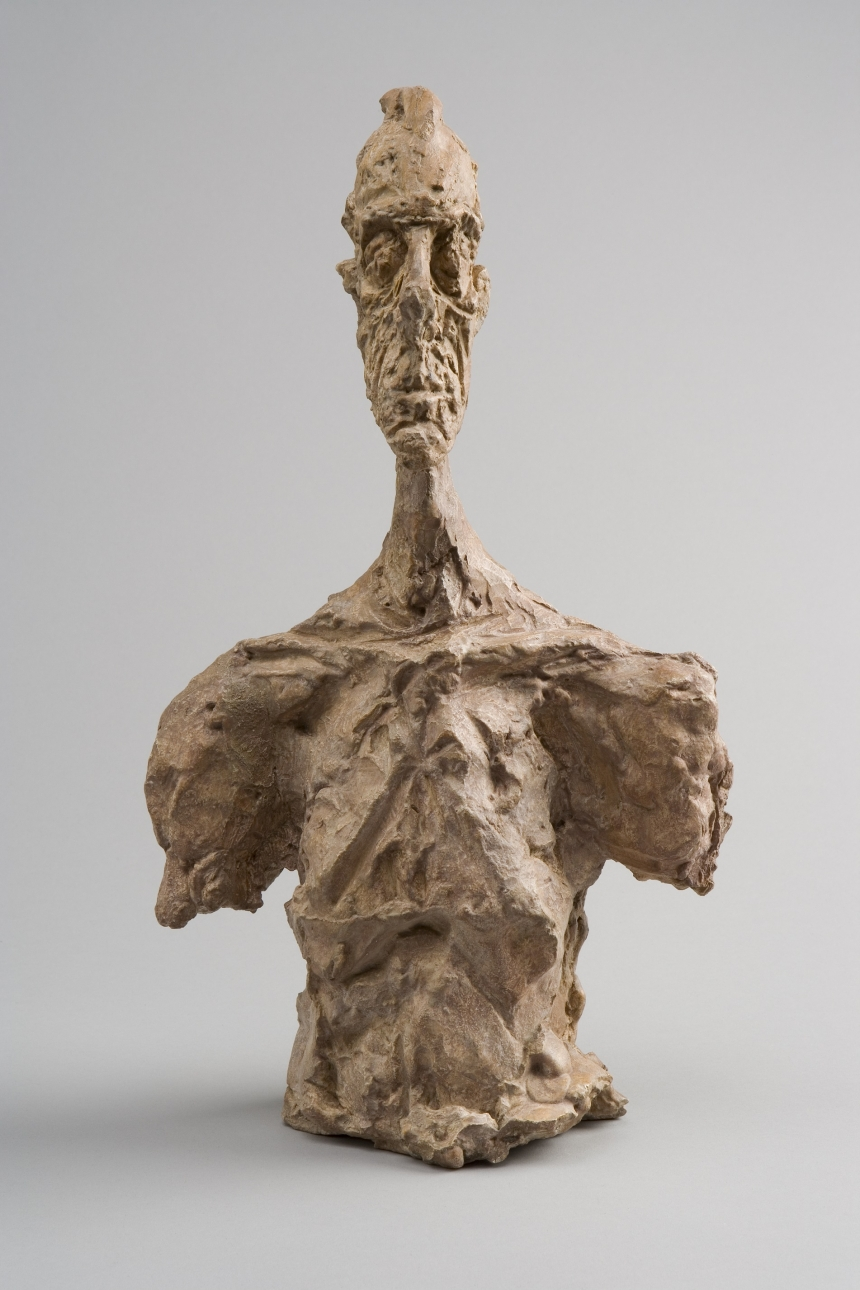 Bust of Diego  c.1956 Plaster 37.3 x 21.5 x 13 cm Collection Fondation Alberto et Annette Giacometti, Paris © Alberto Giacometti Estate, ACS/DACS, 2017