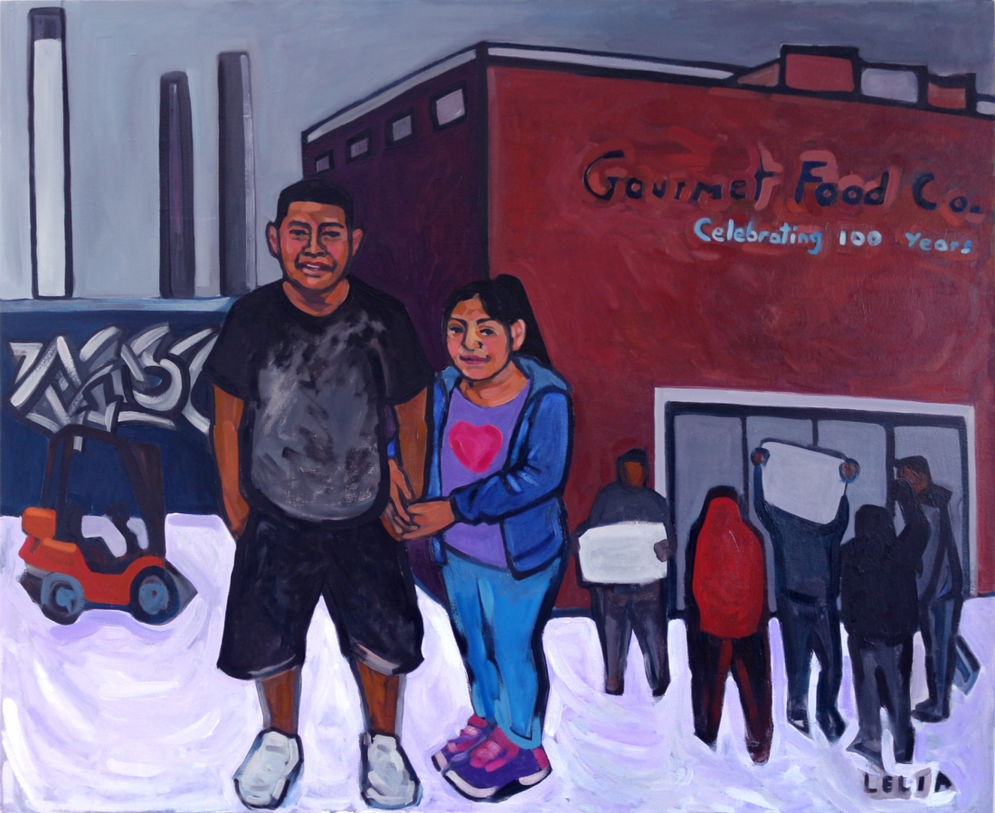 Camilo and His Daughter, by Lelia Byron, oil on canvas, 168 x 137 cm, 2017.