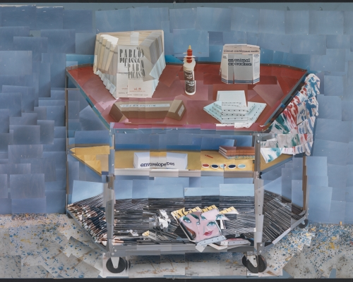 "David Hockney ""Paint Trolley, L.A. 1985"" Photographic collage 40 x 60"" © David Hockney Photo Credit: Richard Schmidt"