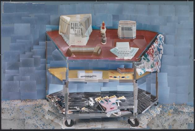 "David Hockney ""Paint Trolley, L.A. 1985"" Photographic collage 40 x 60"" © David Hockney Photo Credit: Richard Schmidt"