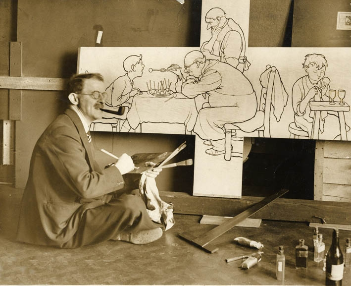 Heath Robinson at work on one of the panels for the Empress of Britain cocktail bar, 1930/31.