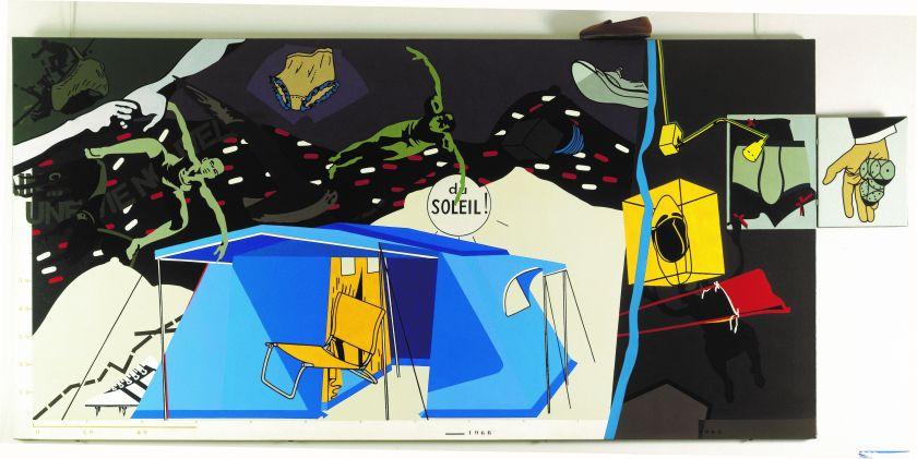 Hervé Télémaque, Inventaire, un homme d'intérieur, 1966, Acrylic on canvas, 150 x 300 cm. © Hervé Télémaque, ADAGP, Paris and DACS, London 2021.