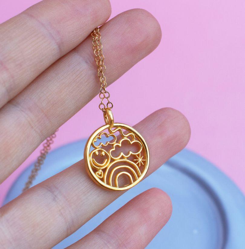 Porcelain posts with statement pendant necklace set Oregon. Handmade in Portland