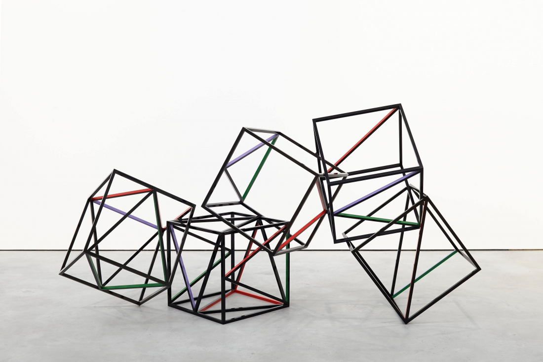 Eva Rothschild Fall, Fall, and Falling, 2014, Powder coated steel, enamel paint, 118 x 240 x 100 cm, 46 1/2 x 94 1/2 x 39 3/8 ins, Copyright the artist, courtesy Stuart Shave/Modern Art, London
