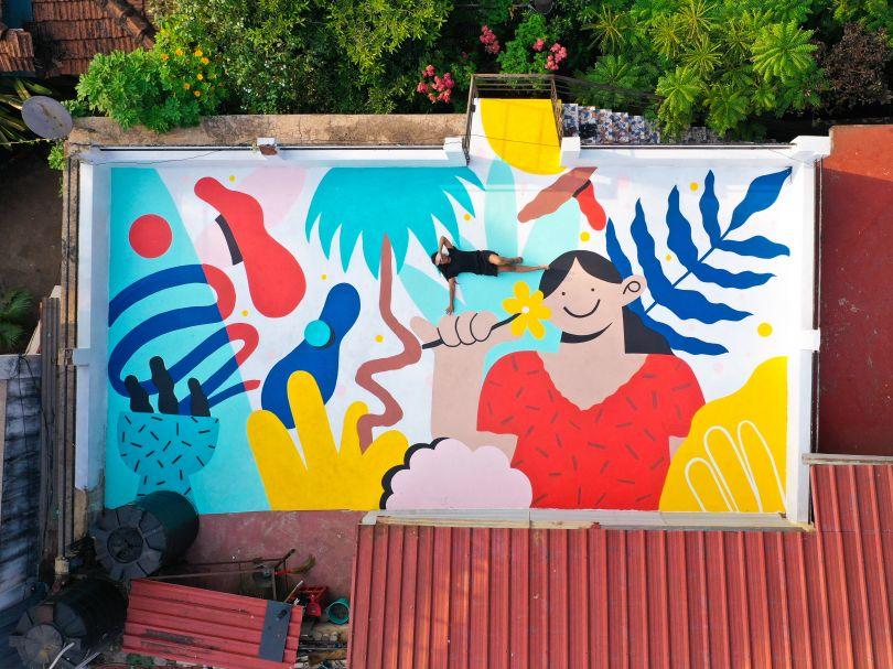 The Good Sense, floor mural in Anjuna, Goa, India