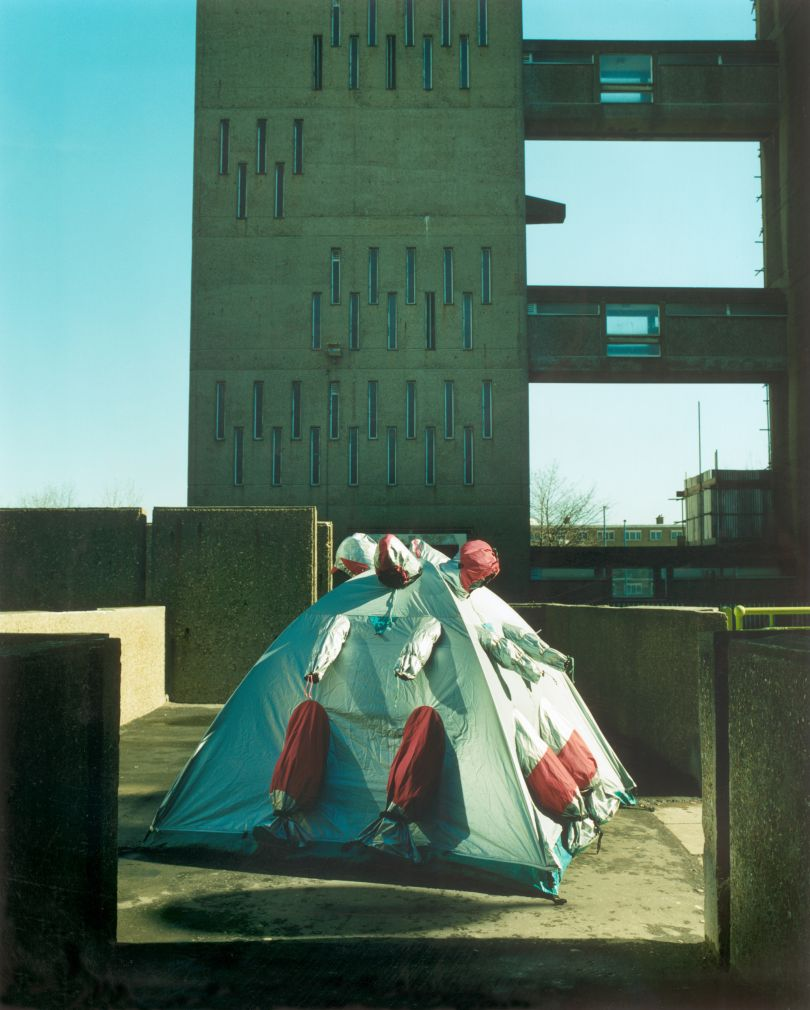 Refuge Wear Intervention, London East End 1998 by Lucy + Jorge Orta. Photograph by John Akehurst