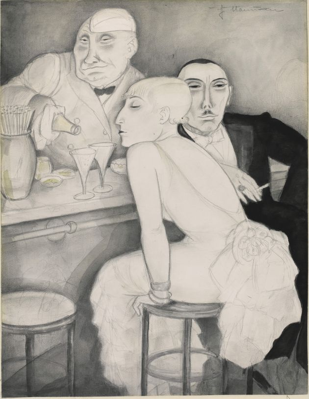 Jeanne Mammen Bar, c. 1930 Watercolour and pencil on paper Private collection © DACS 2018