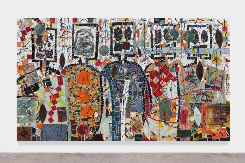 Rashid Johnson The Broken Five 2020 Ceramic tile, mirror tile, spray enamel, oil stick, black soap, wax 250.2 x 430.5 cm Photo: Martin Parsekian