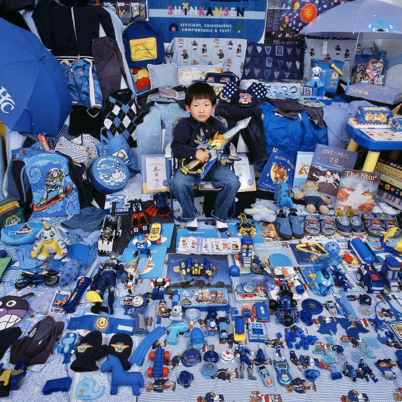 The Blue Project I - Kihun and His Blue Things, Seoul, South Korea, Light jet Print, 2007 © JeongMee Yoon