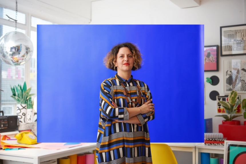 Artist Camille Walala. Favourite colour - Yves Klein Blue. Photography by Toby Coulson