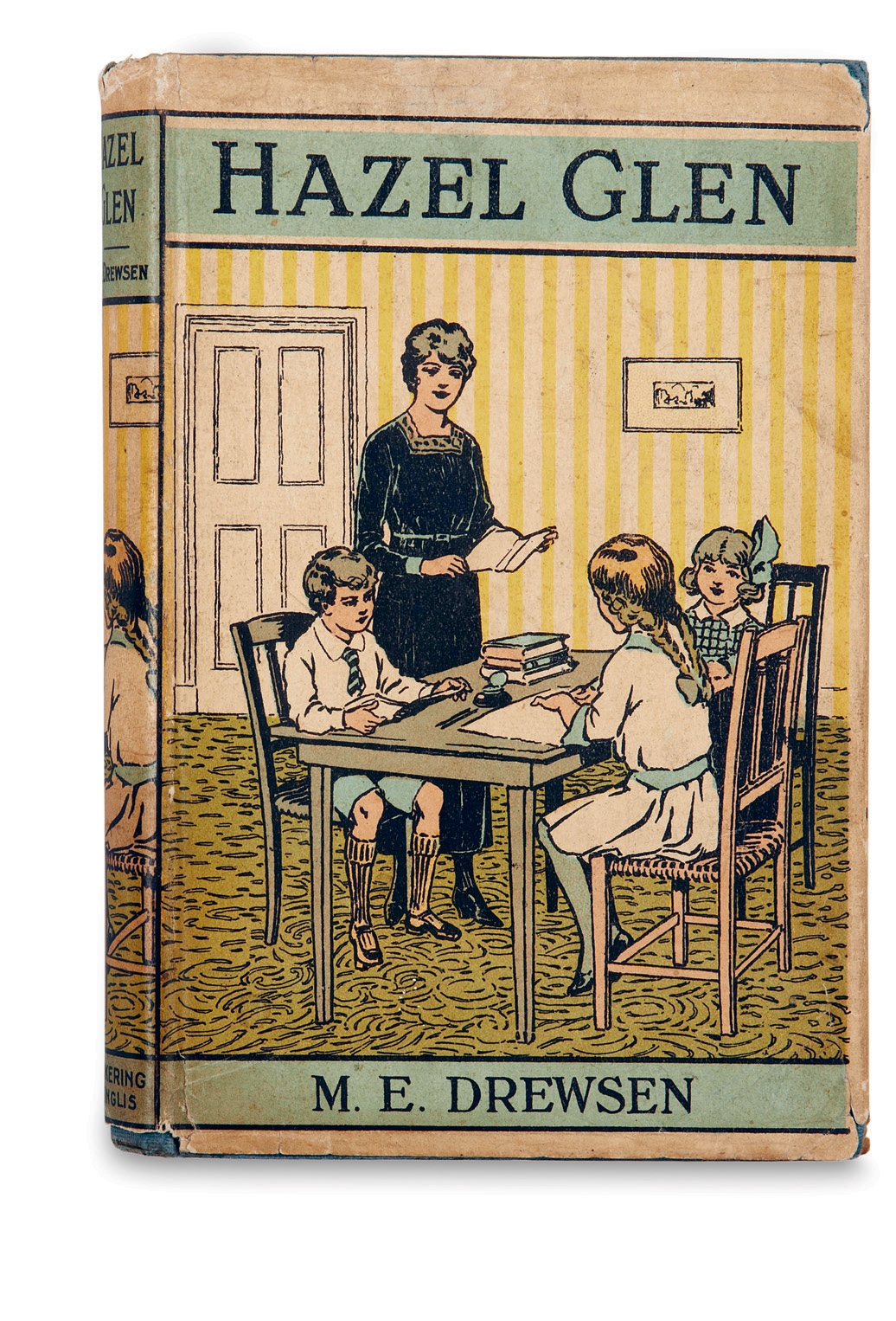 Unknown, Hazel Glen, M. E. Drewsen. Pickering & Inglis, undated. From the collection of Martin Salisbury. Photograph, Simon Pask. Although undated, this Excelsior Library edition for children was published before 1925 and is an early example of a coloured (letterpress line-block separations) narrative illustration as a promotional jacket. A section of image is extracted and repositioned on the spine. The artist is not credited.