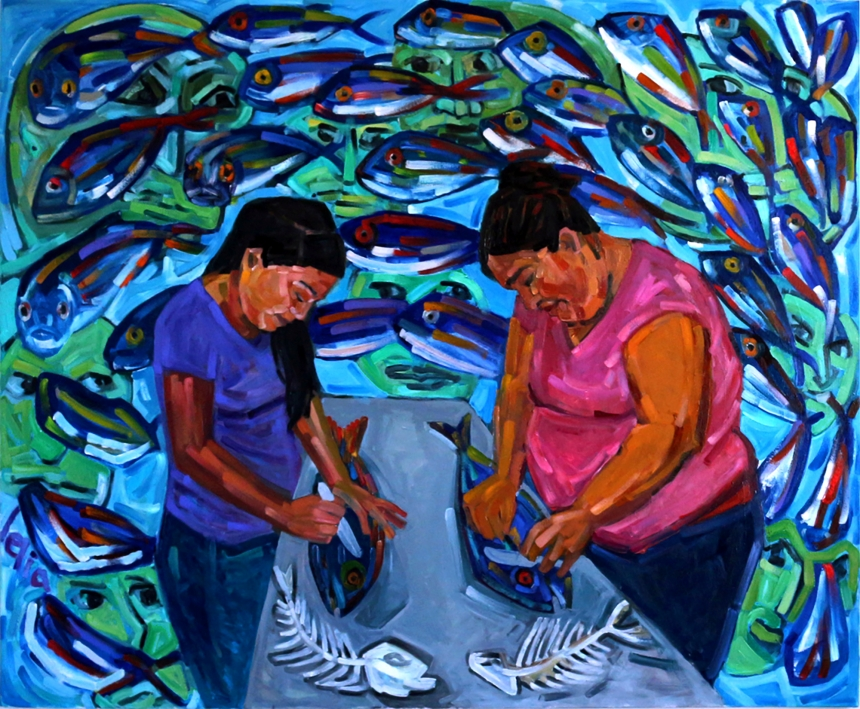 Fish Cleaners: Rosa and Ruth, by Lelia Byron, oil on canvas, 168 x 137 cm, 2016.