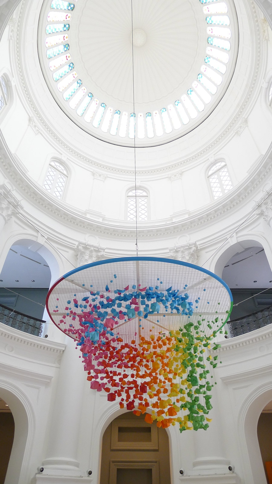 Giant Rainbow Hanging Installation Of 1 000 Origami Spheres Fish