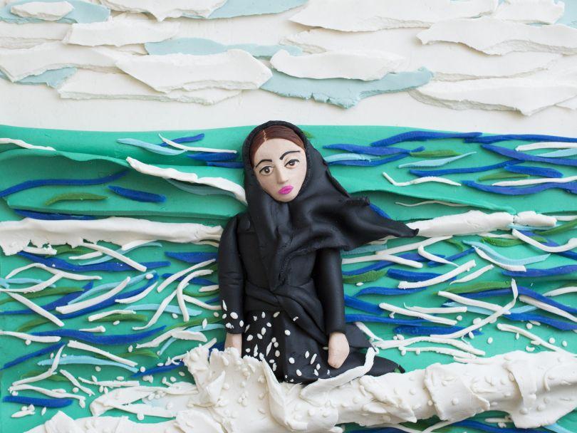 Original photograph: [Imaginary CD cover for Sahar](http://pro.magnumphotos.com/C.aspx?VP3=SearchResult&VBID=2K1HZO6BUU5CEQ&SMLS=1&RW=1197&RH=579). Caspian Sea, Mahmoudabad, Iran, 2011 by Newsha Tavakolian rendered in Play-Doh by Eleanor Macnair © Eleanor Macnair