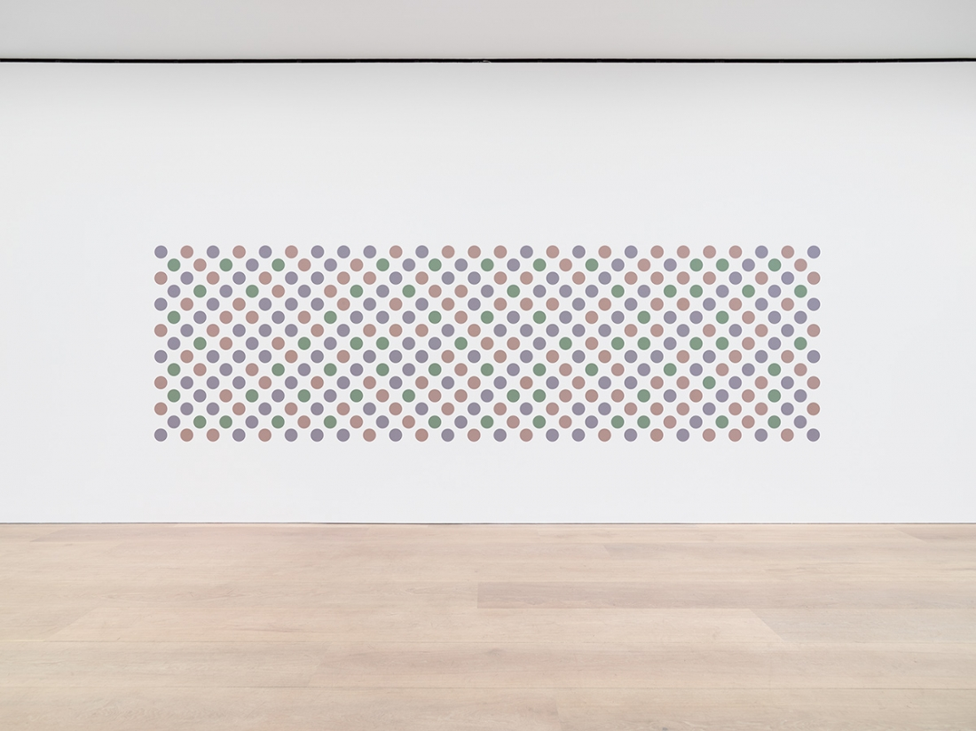 Bridget Riley Cosmos 2 2017 Graphite and acrylic on plaster wall 65 x 220 7/8 inches 165 x 561 cm © Bridget Riley 2017, all rights reserved. Courtesy David Zwirner, New York/London