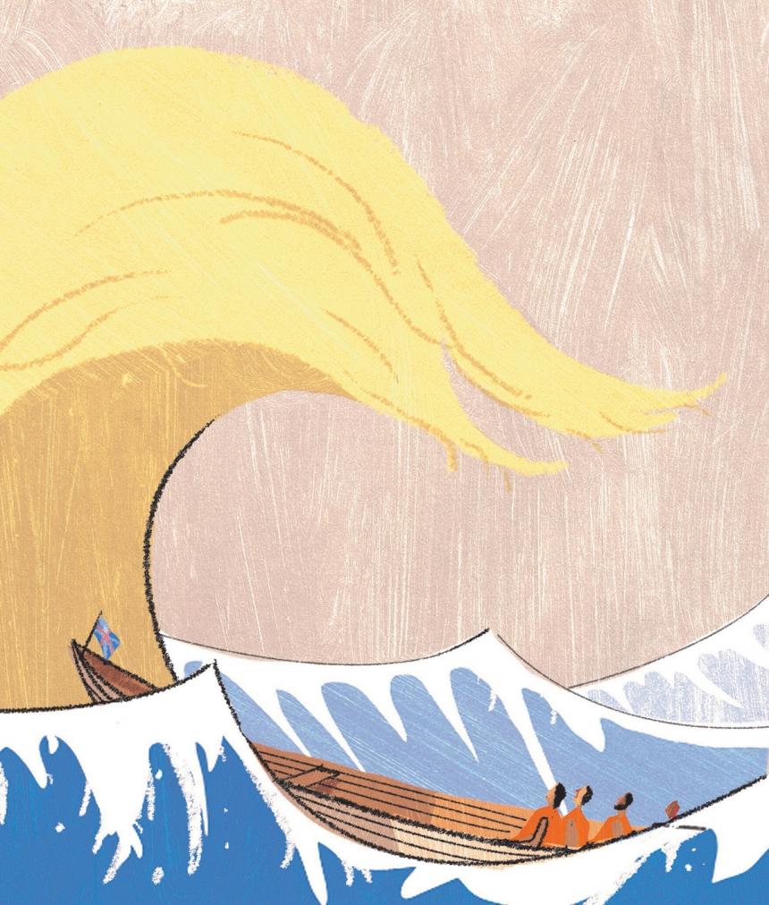 Trump Wave – editorial illustration by A. Richard Allen | Credit: © A. Richard Allen