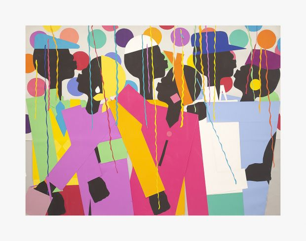 Varnette Honeywood, Let's Party, 1980. Collage on board; 30 x 40 in (76.2 x 101.6 cm). Courtesy the Eric Firestone Gallery and South Etna Montauk.