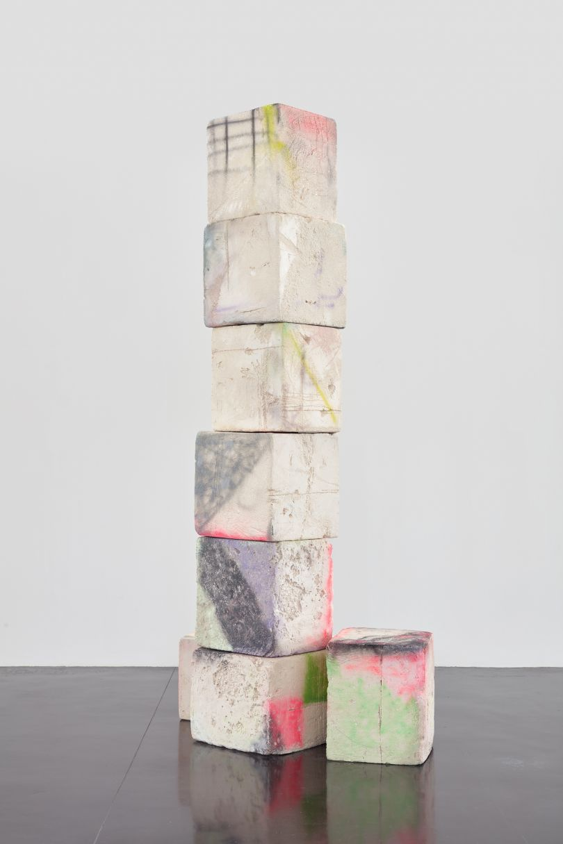 Eva Rothschild Ruins, 2016 Jesmonite, resin, spray paint, steel, 360 x 205 x 130 cm, 141 3/4 x 80 3/4 x 51 1/8 ins, Copyright the artist, courtesy Stuart Shave/Modern Art, London