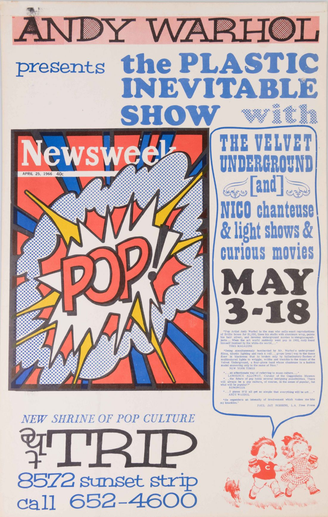 The Trip featuring Andy Warhol's Exploding Plastic Inevitable; an early show by the Velvet Underground (1966). Not for sale.