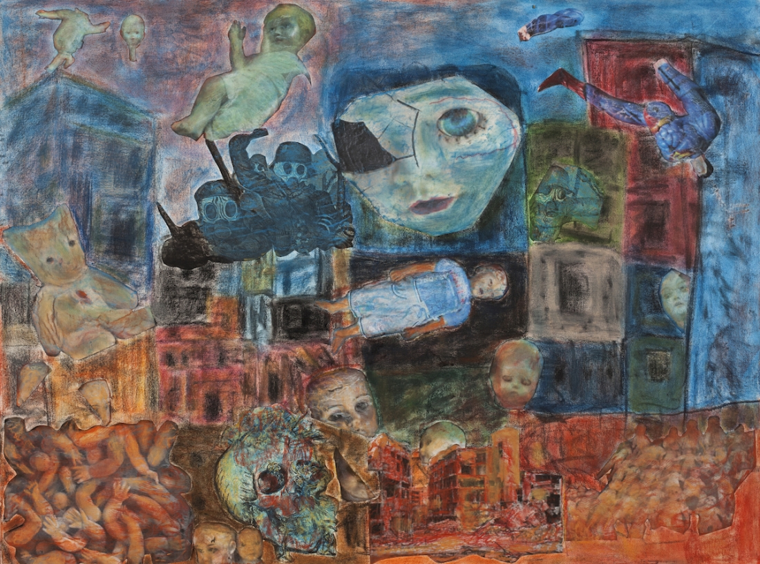Aleppo, Pastel and collage on canvas, 76 x 101, (2016)