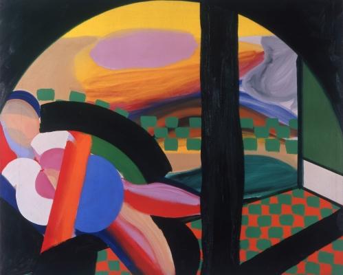 Howard Hodgkin Mrs Acton in Delhi, 1967–71 Oil on canvas, 122 x 148cm | Credit: © Howard Hodgkin Courtesy the artist and Gagosian