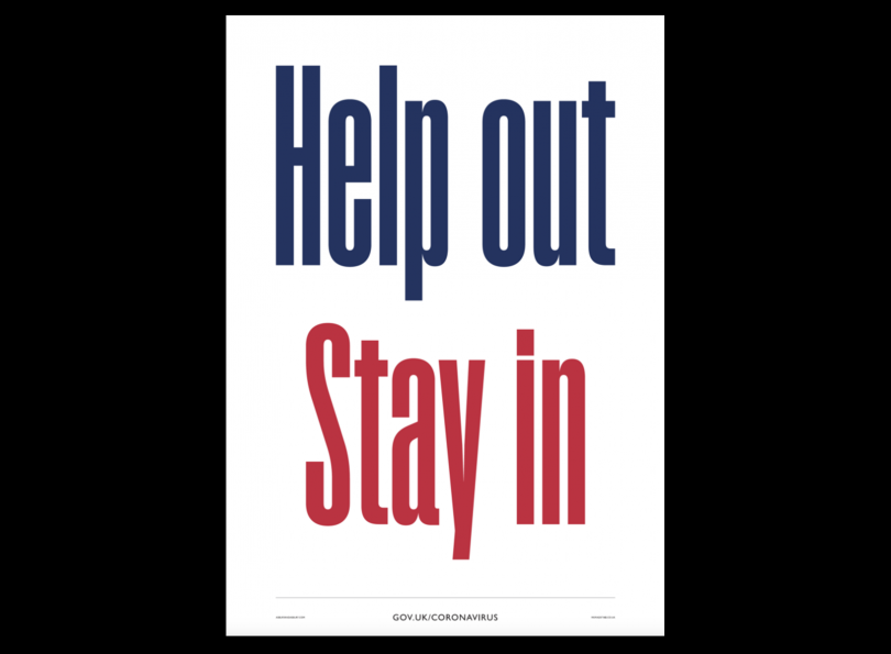 Help Out Stay In poster by Alistair Hall and Nick Asbury