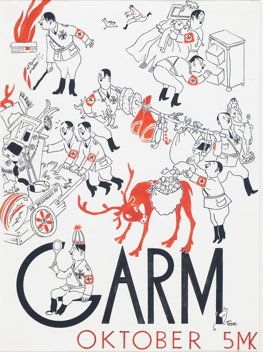 Tove Jansson, Cover illustration for the magazine Garm, 1944, Tampere Art Museum Moominvalley. Photo: Finnish National Gallery / Yehia Eweis. ©Moomin Characters