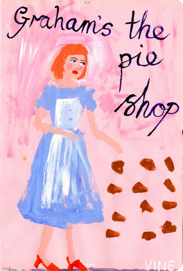 'Graham's the pie shop, Howick Street', (Alnwick), 21cm x 29.7cm, acrylic on paper, 2018 © Stella Vine
