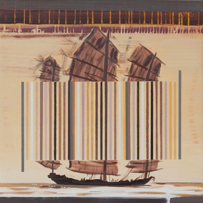 Darren Coffield, Chinese Junk, 2019. Acrylic on canvas, 44.5 x 43.5 cm © Darren Coffield. Courtesy of Dellasposa Gallery