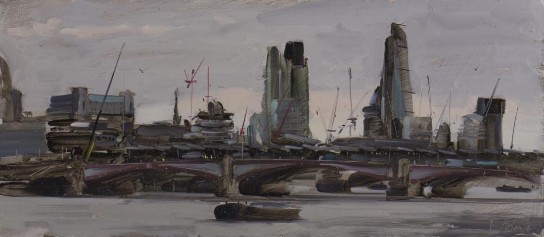 The city from Waterloo Bridge, stormy skies, February © Tom Hughes