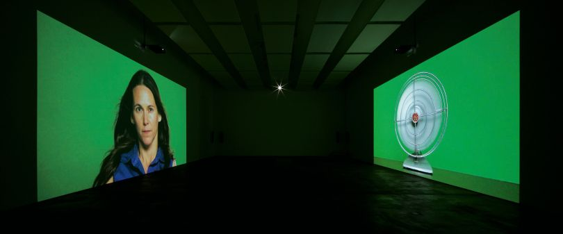 Barbara Kruger, The Globe Shrinks, 2010, four-channel video installation; color, sound; 12 min., 43 sec., courtesy of Sprüth Magers, installation view, Sprüth Magers, Berlin, 2010, © Barbara Kruger, photo by Jens Ziehe, courtesy of Sprüth Magers
