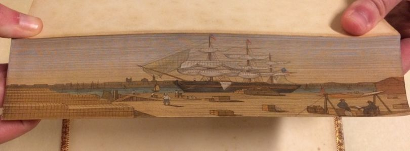 A ship painted in Lectures on Modern History (1843) | Photo courtesy of [The Swem Library](https://libraries.wm.edu/research/special-collections/books-periodicals/ralph-h-wark-collection)