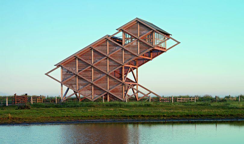 Bird Observation Tower, Graswarder-Heiligenhafen, Germany, Architekten von Gerkan, Marg und Partner, 2005. Picture credit: Heiner Leiska