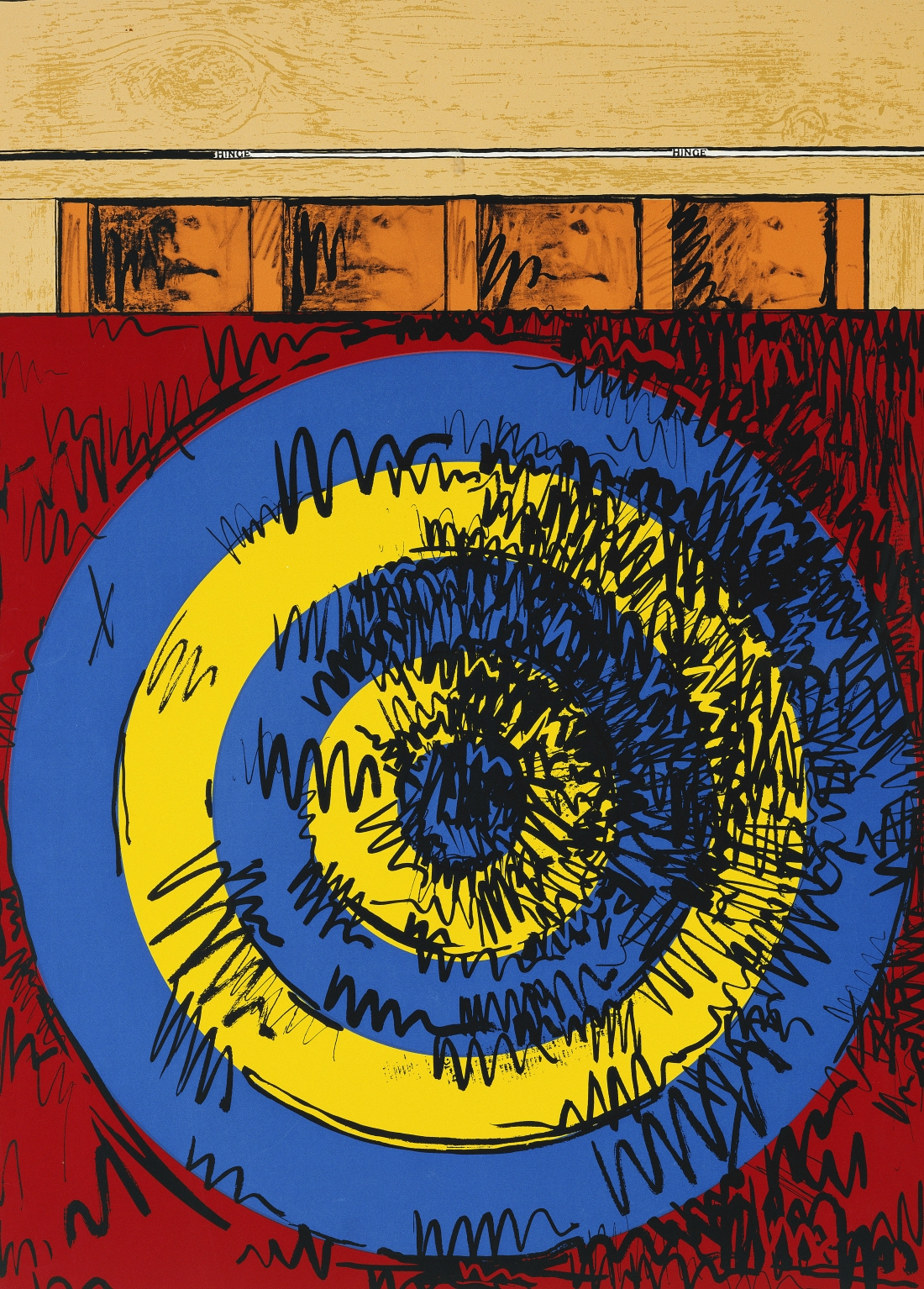 Jasper Johns Target with Four Faces, 1968 Silkscreen print on paper, 91.6 × 66.7 cm. © Jasper Johns/DACS, London/VAGA, NY 2018. Collection: The Provost and Scholars of King's College, Cambridge