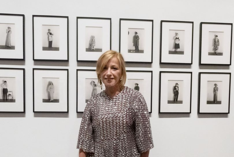 Cindy Sherman with her work Untitled (Murder Mystery People), 1976/2000, on display in Cindy Sherman, National Portrait Gallery London. Photograph by Alastair Fyfe Photography