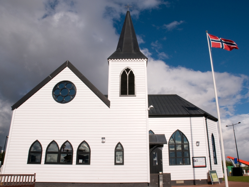 The Norwegian Church at Cardiff Bay. Image Credit: [Shutterstock.com](http://www.shutterstock.com/cat.mhtml?lang=en&search_source=search_form&version=llv1&anyorall=all&safesearch=1&searchterm=cardiff&search_group=#id=99553148&src=AQiN2ntVJB6hLcAVKGRKDw-1-55)