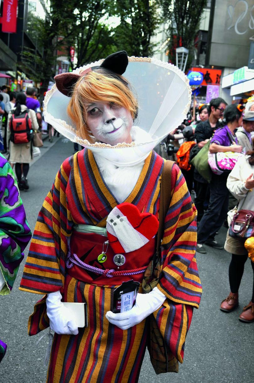 A punter at the Bakeneko Festival during Halloween. It is open to anyone wearing a cat outift. Photograph by Manami Okazaki
