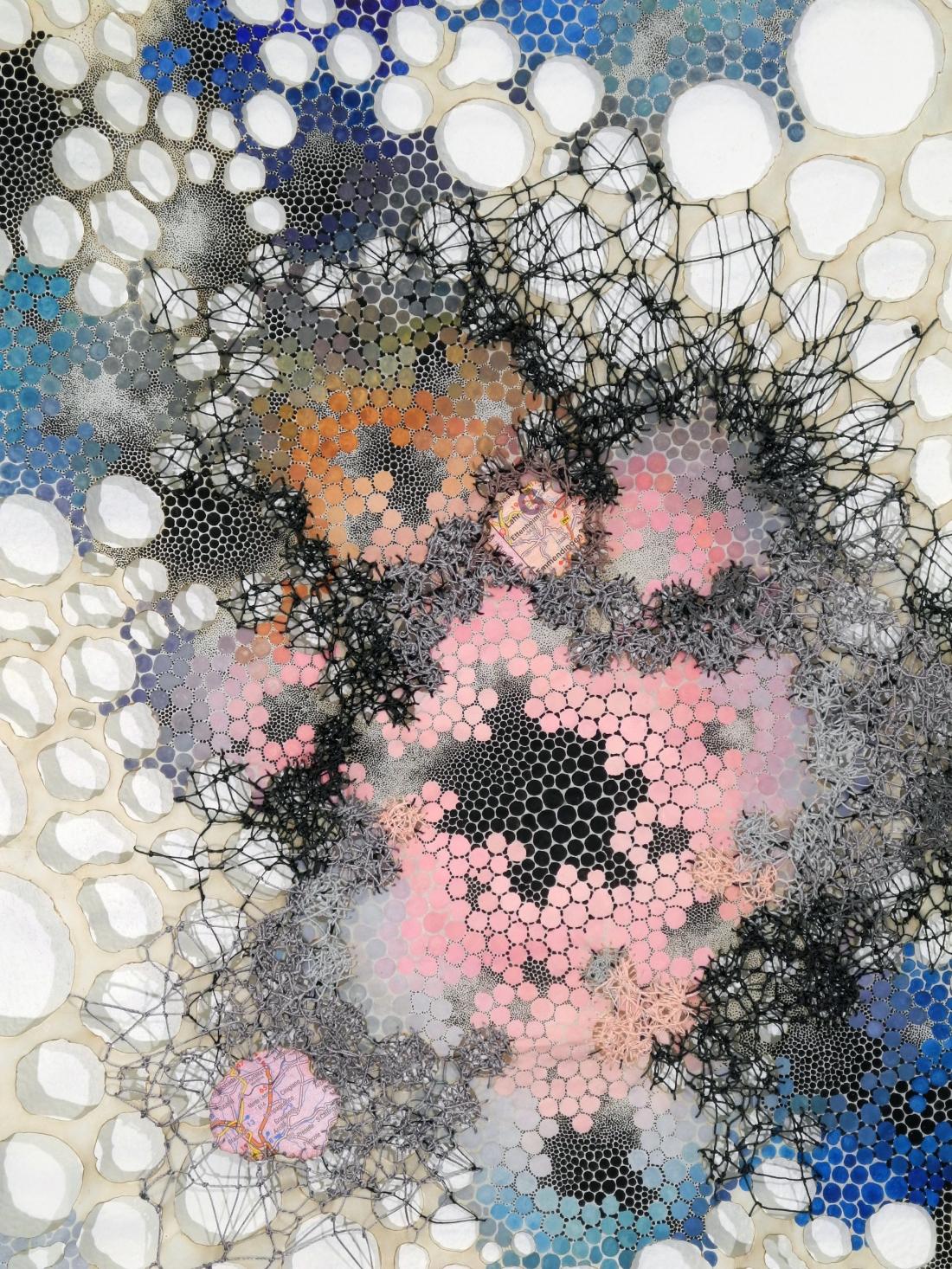 "Cathexis Karen Margolis Cathexis, 2017 watercolor, gouache, maps, thread on Abaca paper 24""x18"" Courtesy of the artist and Garis & Hahn"