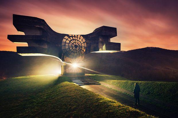 Podgaric Spomenik, Croatia. From the series, Eternal Monuments in the Dark © 杨潇 [Yang Xiao](https://www.inhiu.com/)