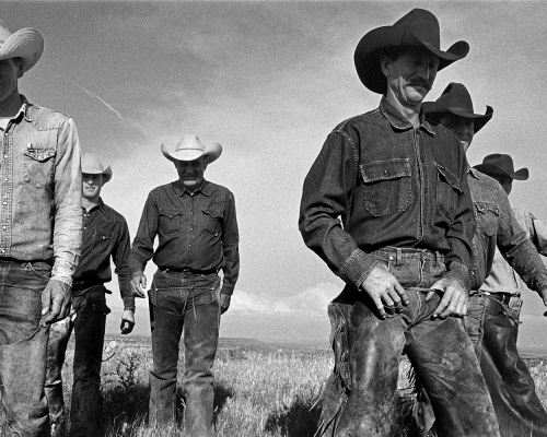 Laura Wilson, Cowboys Walking, J.R. Green Cattle Company, Shackelford County, Texas, May 13, 1997