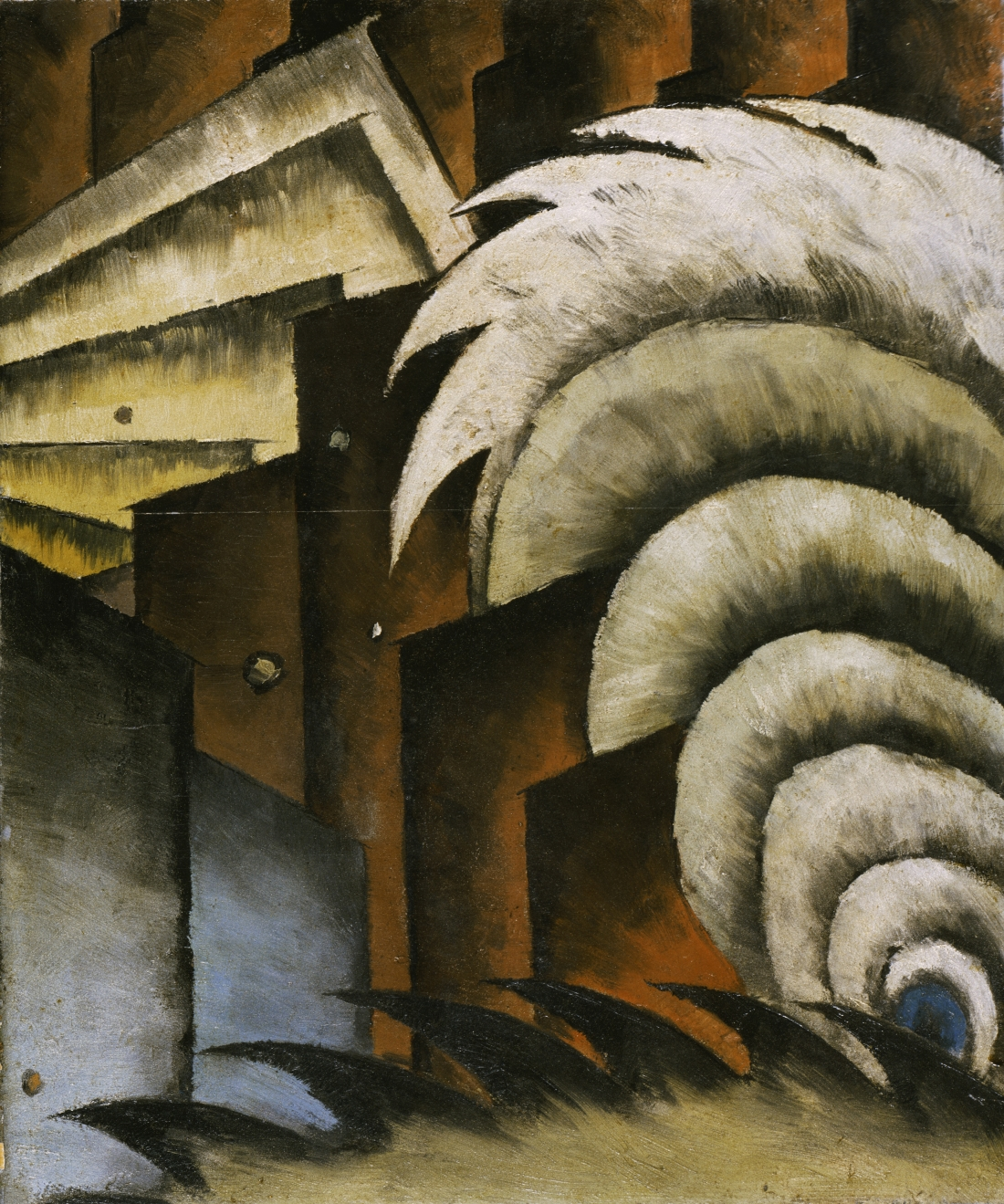 Chinese Music, 1923, by Arthur Dove, American, 1880 -1946. Oil and metallic paint on panel, 21 11/16 x 18 1/8 inches. Philadelphia Museum of Art: The Alfred Stieglitz Collection, 1949-18-2