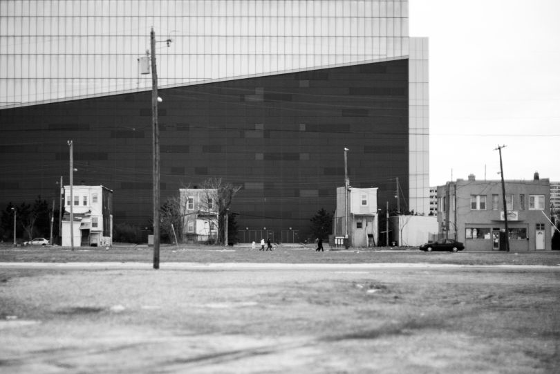 Three homes remain beside the Revel Casino (now the Ocean Casino Resort). Others were leveled in hopes that developers would buy the land for new casinos. © Timothy Roberts