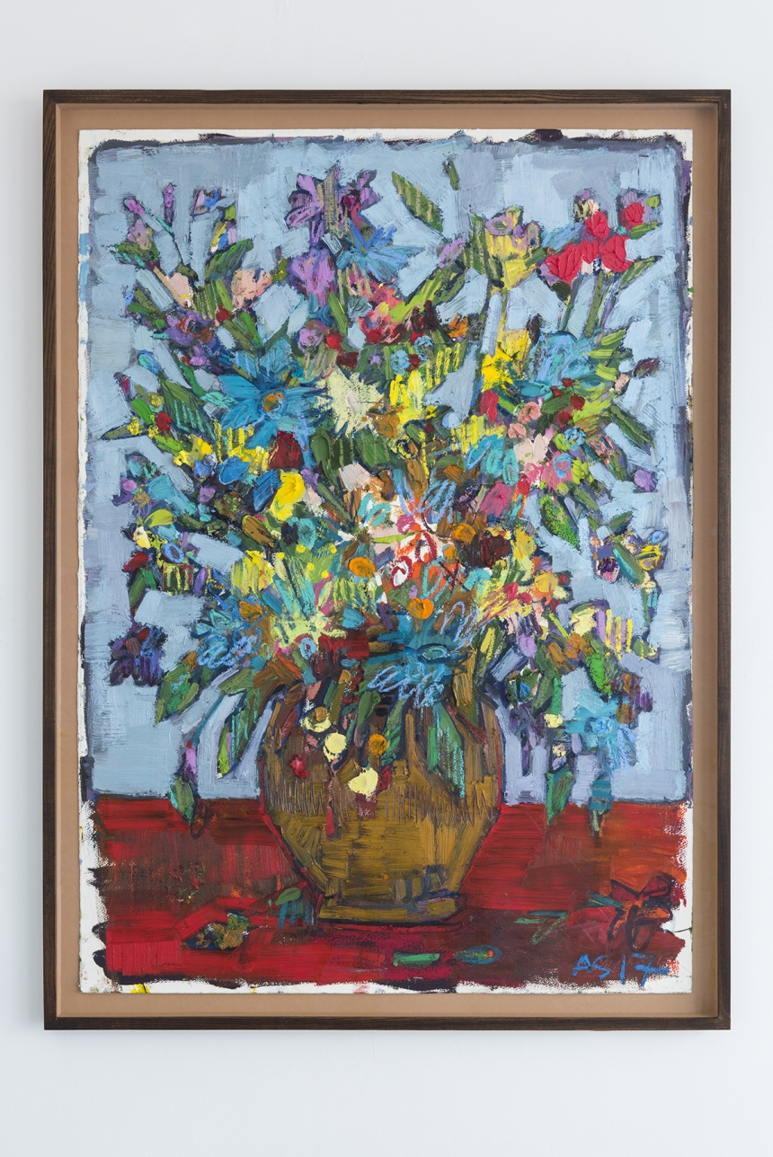 Andrew Salgado too.  'Fat Flower' (2017), oil and oil pastel on canvas, 115x85cm