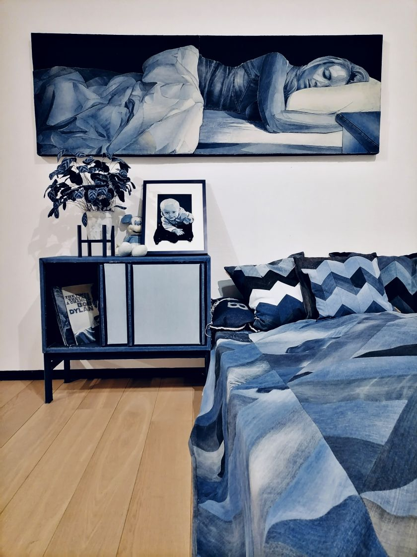 Artist tackles lockdown boredom by replicating his entire living room in recycled denim jeans