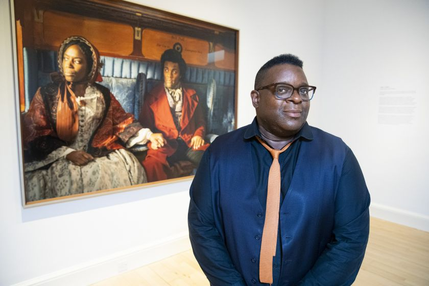 Artist Isaac Julien, CBE, RA unveils the UK Premiere of his work Lessons of Hour at the Scottish Gallery of Modern Art as part of Edinburgh Art Festival 2021. Credit Duncan McGlynn