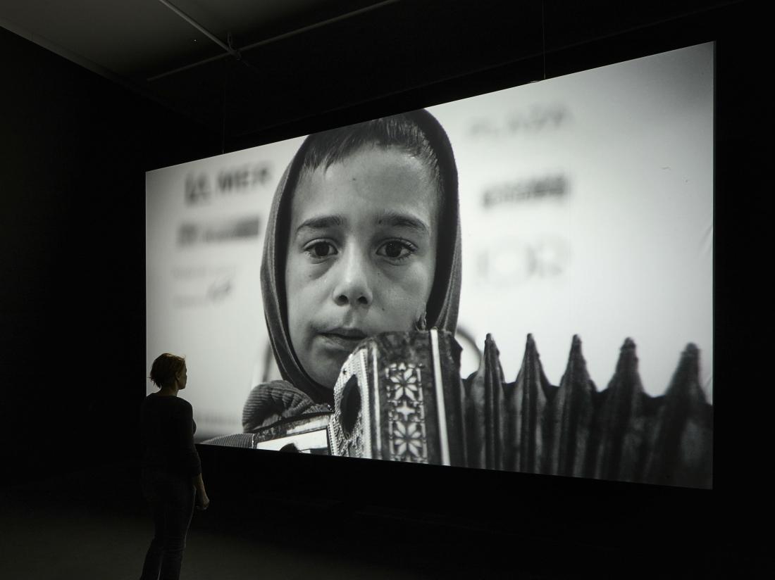 "Installation shot of the work 'Muhamed (2016) in' Béla Tarr - Till the End of the World ""by EYE Film Museum  ©  Studio Hans Wilschut, courtesy Béla Tarr"